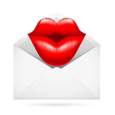 lips kiss: Illustration of a Post Envelope with Kiss Sign Inside