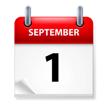 calendar september: First September in Calendar icon on white background Illustration