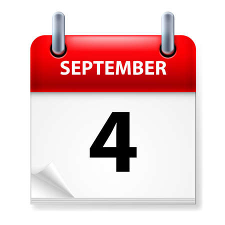 calendar september: Fourth September in Calendar icon on white background Illustration