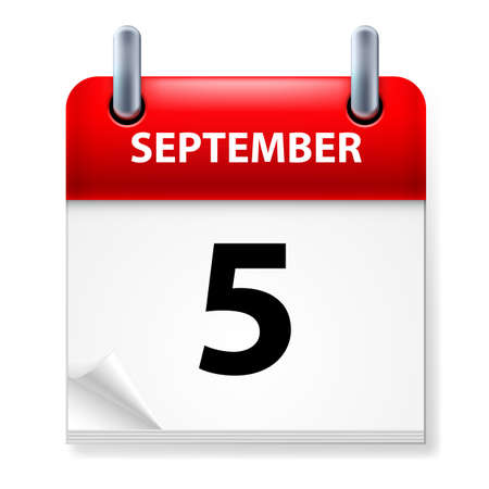fifth: The fifth September in Calendar icon on white background
