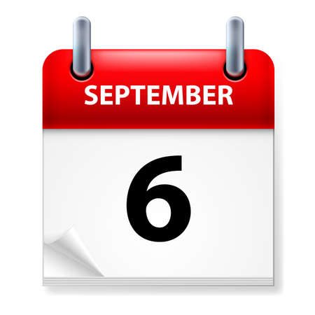 calendar september: Sixth September in Calendar icon on white background