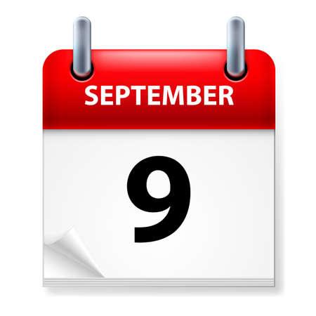 ninth: Ninth September in Calendar icon on white background Illustration