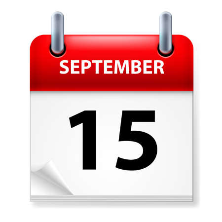 page curl: Fifteenth September in Calendar icon on white background