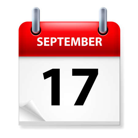 seventeenth: Seventeenth September in Calendar icon on white background Illustration
