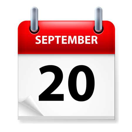 twentieth: Twentieth September in Calendar icon on white background