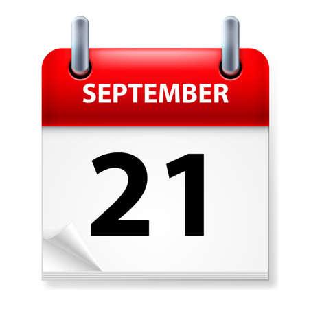 Twenty-first September in Calendar icon on white background Stock Vector - 14235455