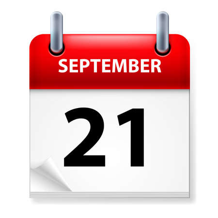 calendar september: Twenty-first September in Calendar icon on white background