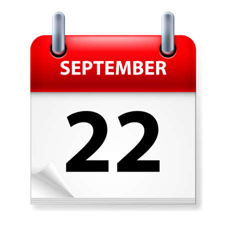calendar september: Twenty-second September in Calendar icon on white background