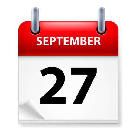 Twenty-seventh September in Calendar icon on white background Stock Vector - 14235454