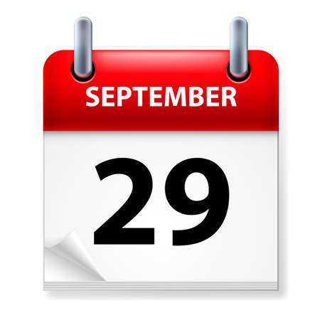 Vigésimo noveno mes de septiembre en el icono Calendario en el fondo blanco