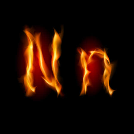 letter n: Fiery font. Letter N. Illustration on black background Illustration