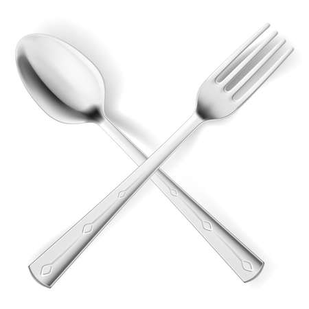 Cutlery spoon and fork.  Illustrations on white background for design    Vector