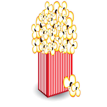 Illustration of a bucket of popcorn, a designer on a white background