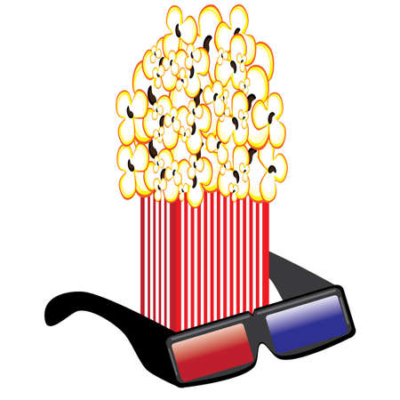 Popcorn and 3D Glasses. Illustrations on white background for design Vector