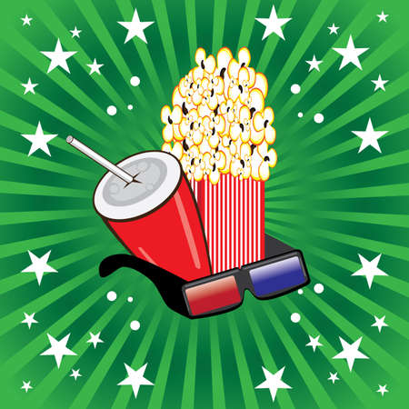 holiday blockbuster: Illustration of movie theme objects on green background