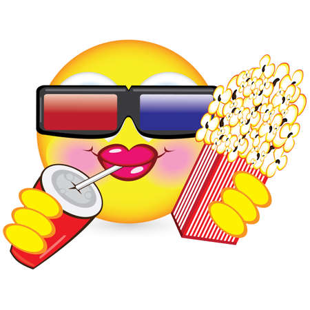 Cheerful smiley eating popcorn. Illustration for design on white background Vector