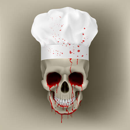 cuisine: Bloody skull cap chef. Illustration for design on white background