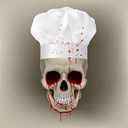 gourmet cooks: Bloody skull cap chef. Illustration for design on white background