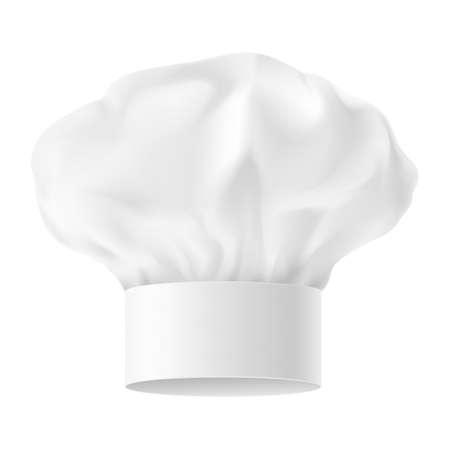 french cuisine: White Chef Hat. Second variant. Illustration on white background.
