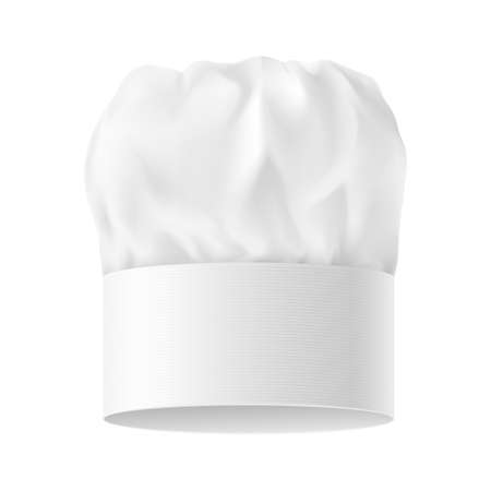 french cuisine: White Chef Hat. Variant Three. Illustration on white background.