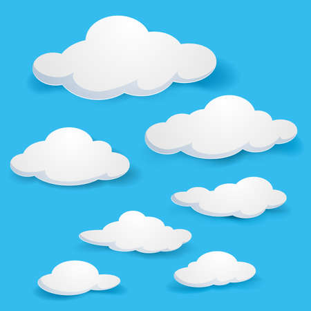 computadora caricatura: Nubes de dibujos animados. Ilustración sobre fondo azul para el diseño