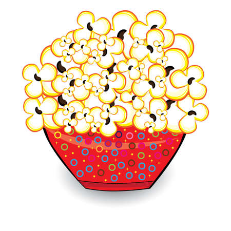 buttered: Popcorn in a red bucket. Illustrations on white background for design
