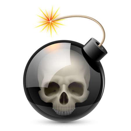 explodindo: Bomba com crânio. Ilustração no fundo branco para o projeto Ilustra��o