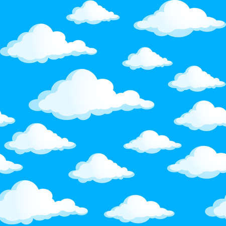 Seamless texture of clouds. Illustration on blue background. Vector