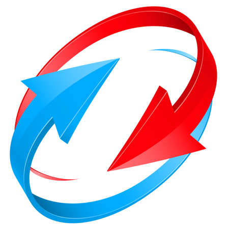 flecha azul: Conjunto de brillantes iconos de las flechas rojas y azules para el dise�o web. Ilustraci�n sobre fondo blanco