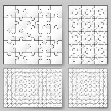 individui: Vari formati puzzle. Illustrazione per la progettazione Vettoriali