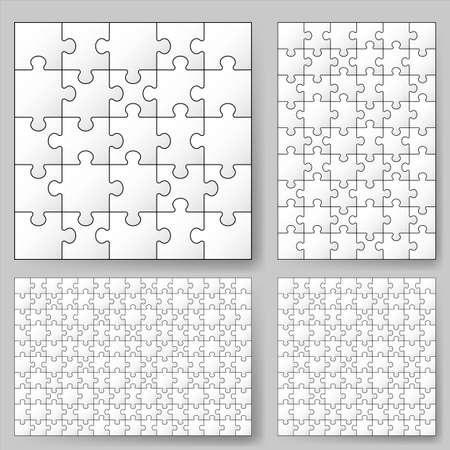 Varios tamaños de rompecabezas. Ilustración para el diseño