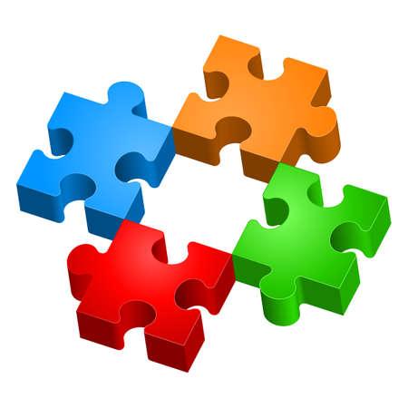 circulos concentricos: Rompecabezas de colores. La forma de la segunda. Ilustración para el diseño sobre fondo blanco Vectores