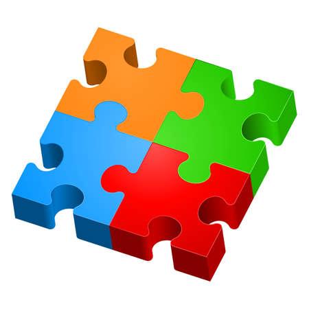 circulos concentricos: Rompecabezas de colores. La forma de la primera. Ilustración para el diseño sobre fondo blanco