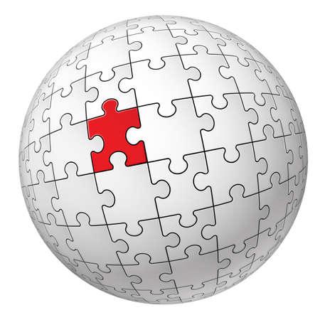 red sphere: Puzzle sfera. Illustrazione per la progettazione su sfondo bianco