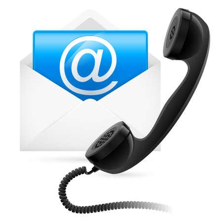 phone us: Telephone mail. Illustration for design on white background Illustration