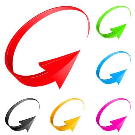 flecha direccion: Flechas de colores. Ilustraci�n para el dise�o sobre fondo blanco