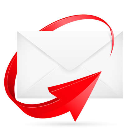 red envelope: E-mail with arrow. Illustration for design on white background