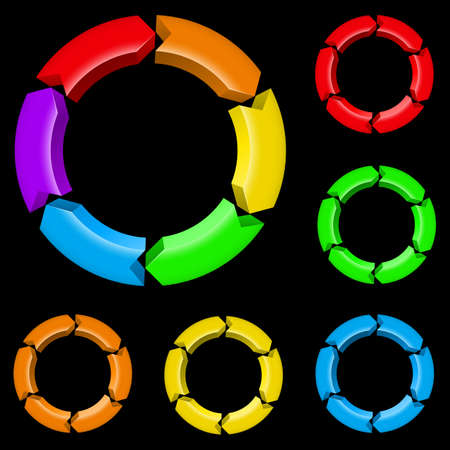 cíclico: En primer lugar un conjunto de flechas de colores. Ilustración para el diseño sobre fondo negro