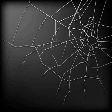 Gebroken glas is een abstracte illustratie van een ontwerp op een zwarte achtergrond Vector Illustratie