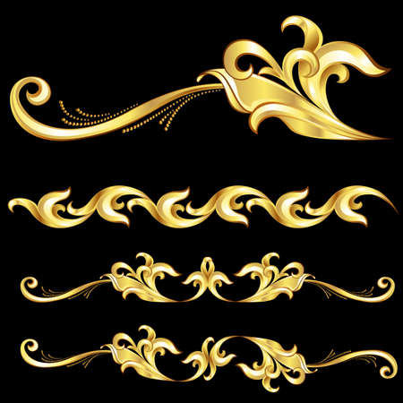 barocco: Gold Frame astratta. Illustrazione su sfondo nero Vettoriali