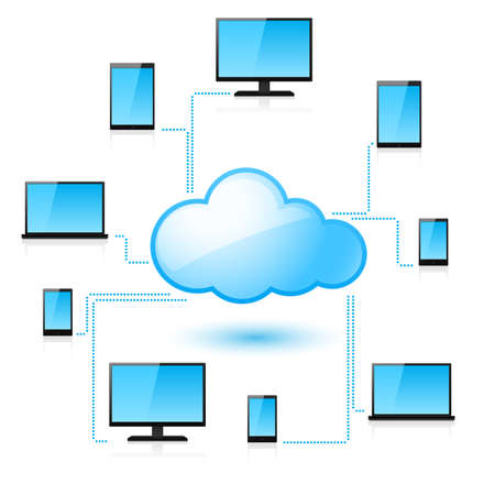 cloud files: Cloud computing. Illustration for design on white background