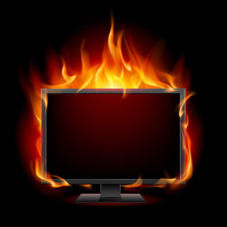 computer monitor: Burning monitor. Illustration for design on black background