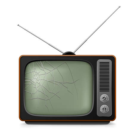 broken screen: Broken Retro TV. Illustration for design on white background