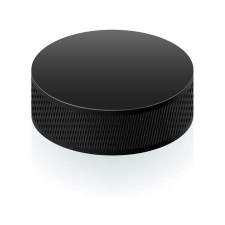 Realistic black puck. Illustration on white background for design Vector