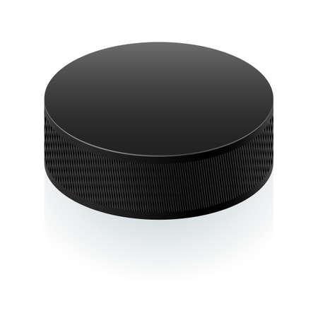 slap: Realistic black puck. Illustration on white background for design