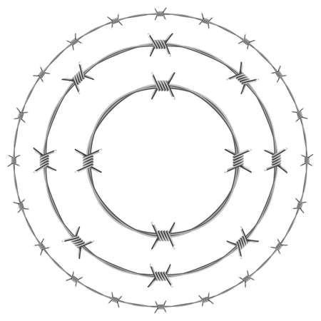 Prikkeldraad Circles. Illustratie op witte achtergrond