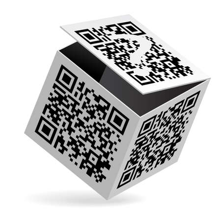 qr: Illustration of QR code on open White Box Illustration