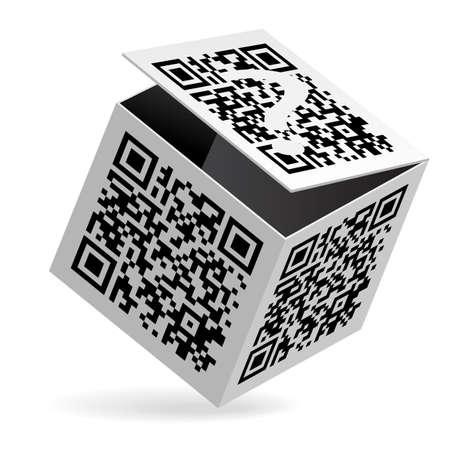 passcode: Illustration of QR code on open White Box Illustration