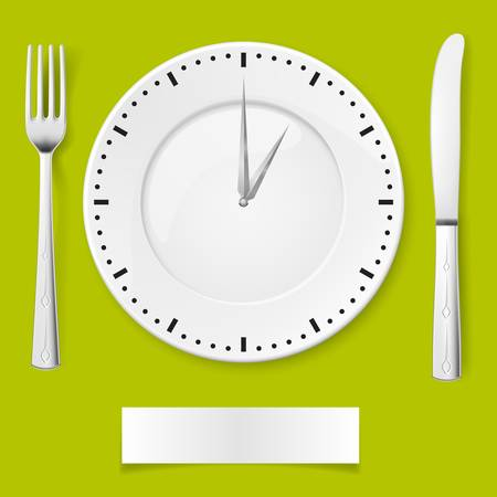 Fork, spoon and clock-plate. Illustration for You creative ideas Stock Vector - 14447593