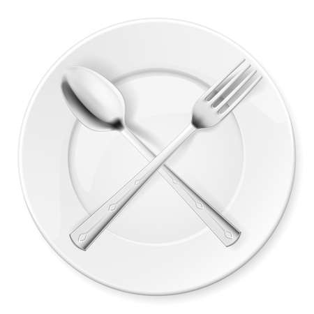 porcelain plate: Spoon, fork and plate isolated on white background